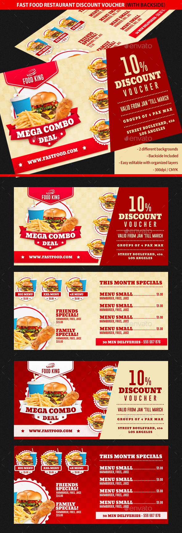 Restaurant Fast Food Discount Voucher - Cards & Invites Print Templates