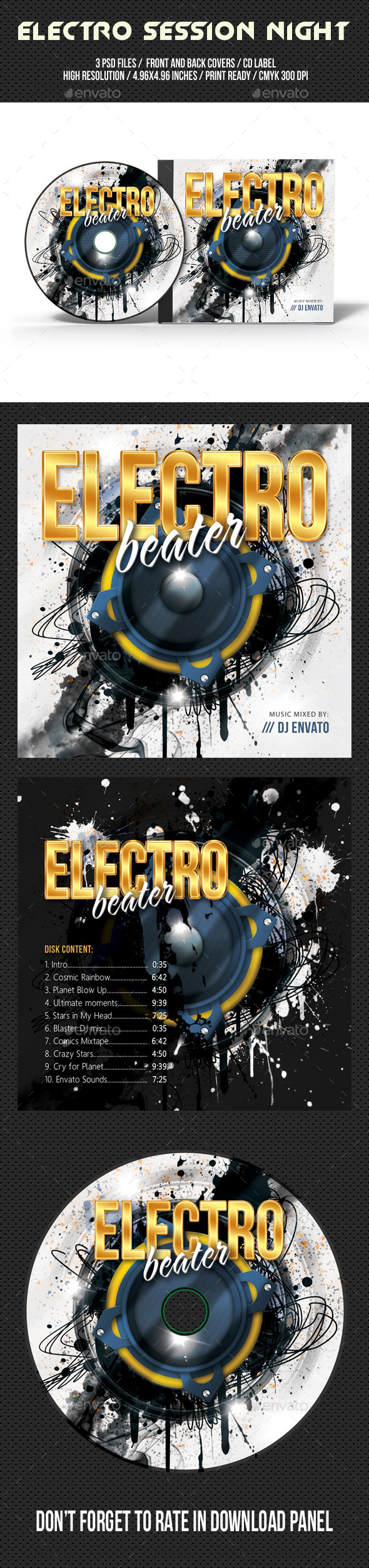 Electro Session Night Party CD Cover V02 - CD & DVD Artwork Print Templates
