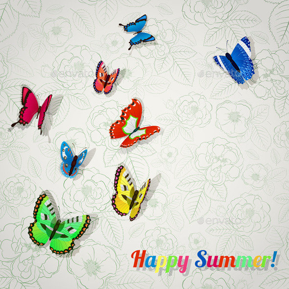 Background with Colorful Butterflies - Nature Conceptual