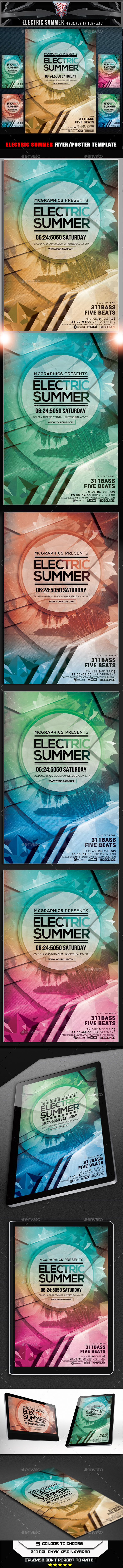 Electric Summer Flyer Template - Flyers Print Templates