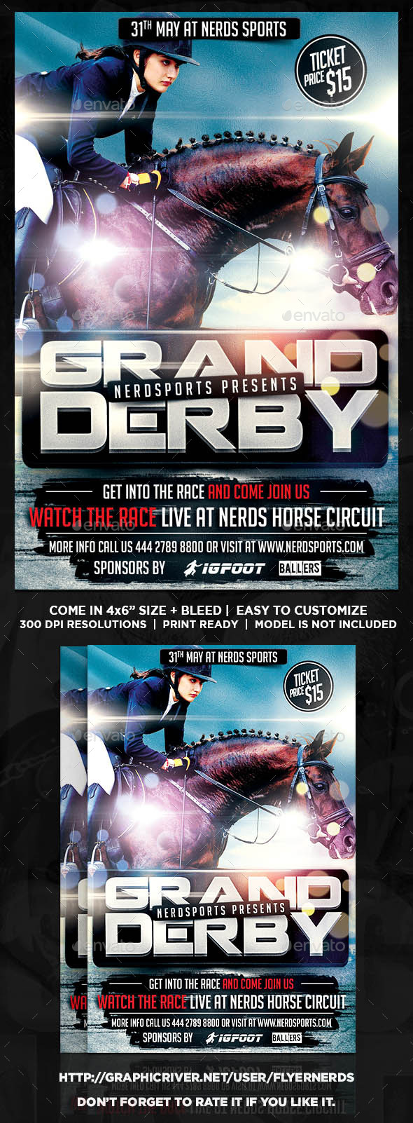 Grand Derby Horse Racing Championships Sport Flyer - Sports Events