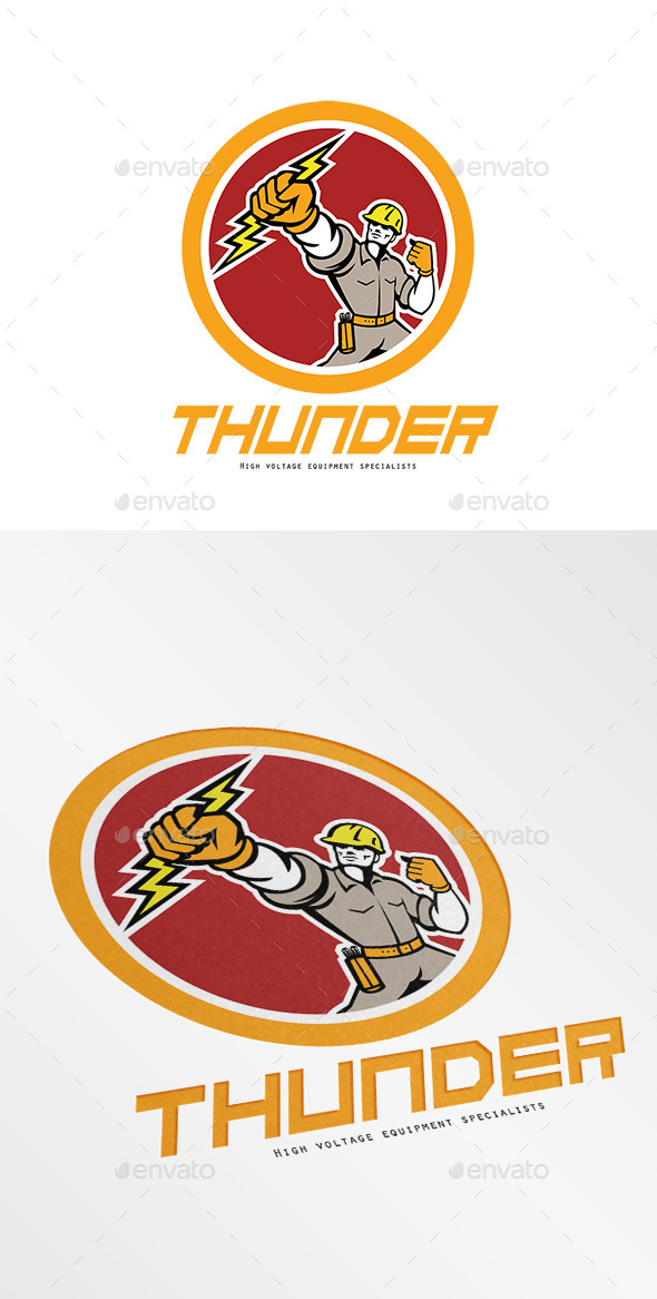 Thunder High Voltage Electrical Logo - Humans Logo Templates