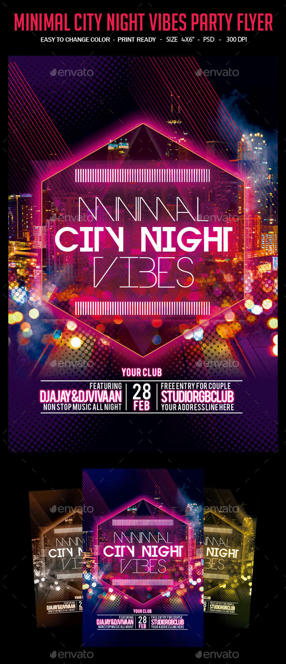 Minimal City Night Vibes Party Flyer - Clubs & Parties Events