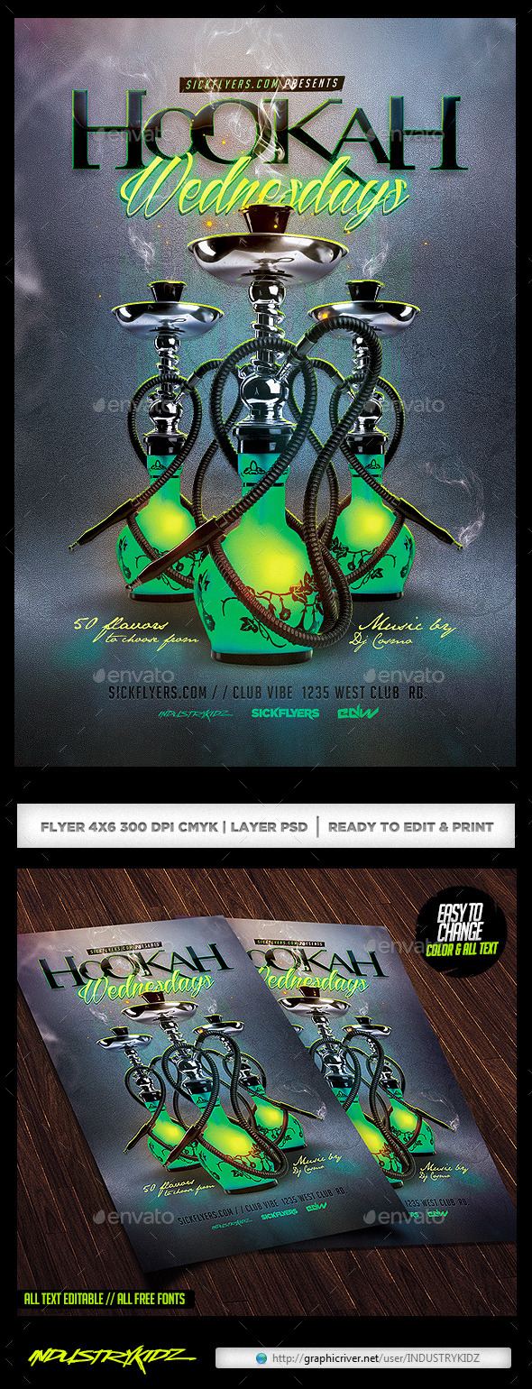 Hookah Flyer PSD - Clubs & Parties Events