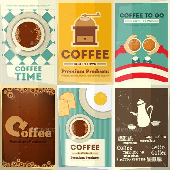 Coffee Posters Set - Food Objects