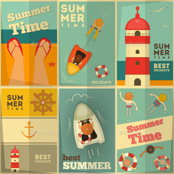 Summer Holidays Posters Set - Sports/Activity Conceptual