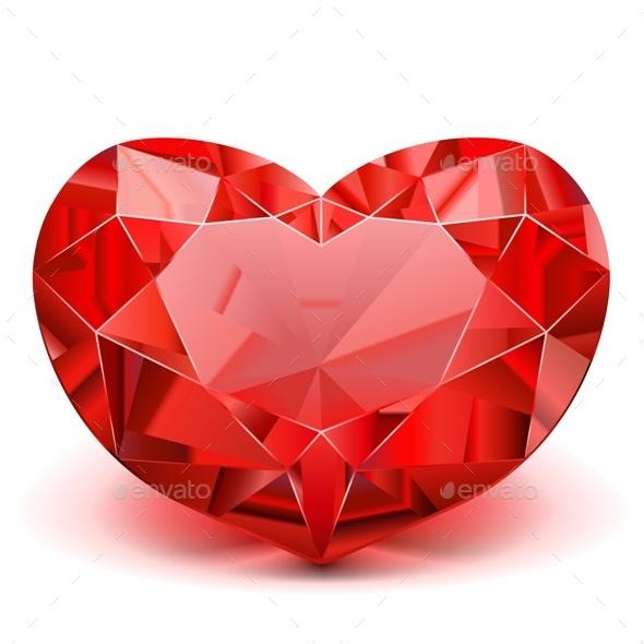 Vector Ruby Heart - Valentines Seasons/Holidays