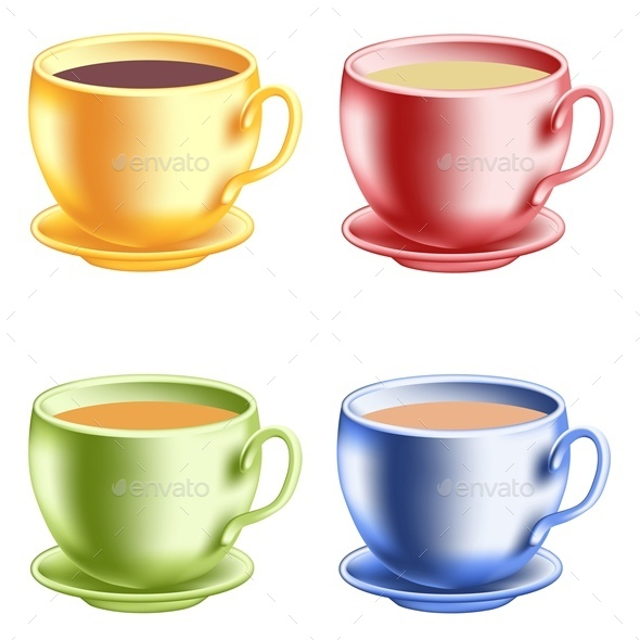 Colored Coffee Cups - Food Objects