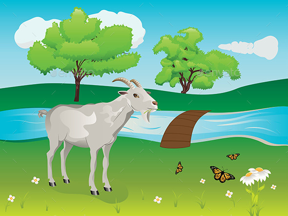 Goat and Green Lawn - Animals Characters