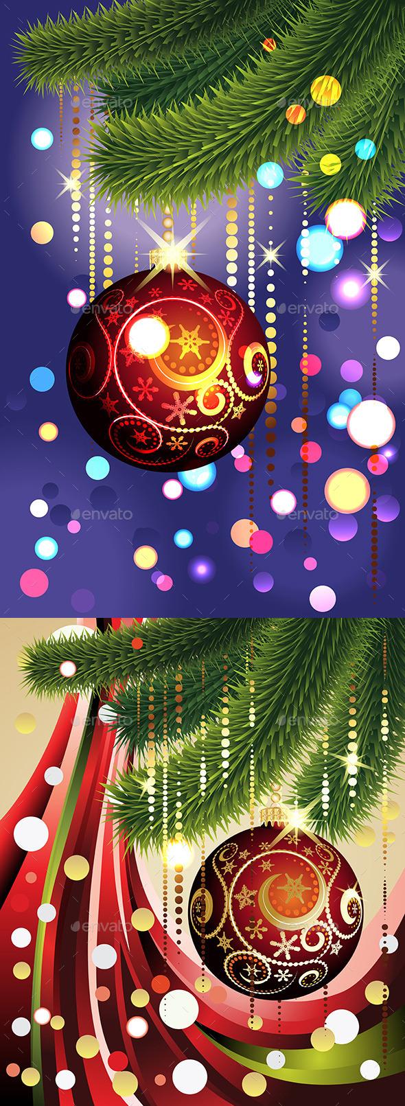 Red Ball and Branches - Christmas Seasons/Holidays