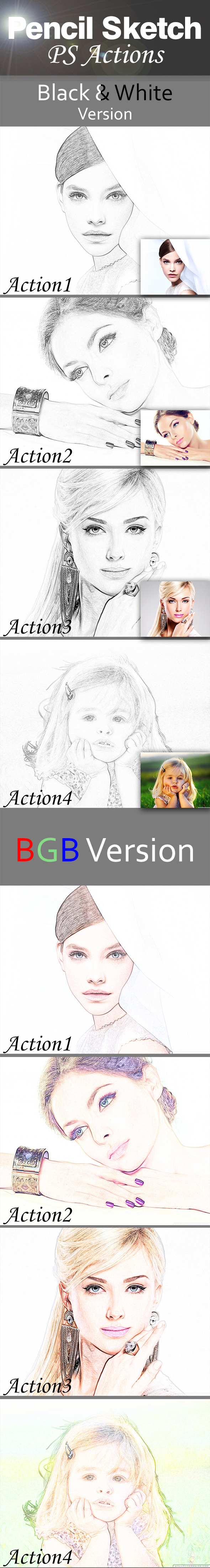Pencil Sketch Actions - Photo Effects Actions