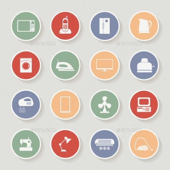 Round Home Appliances Icons - Technology Conceptual