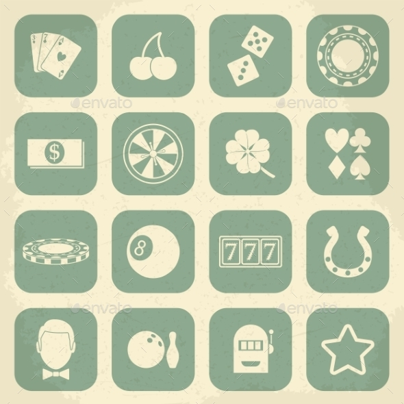 Casino Retro Icons Set - Web Elements Vectors