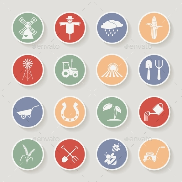 Farming Round Icons - Web Elements Vectors