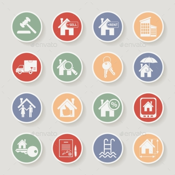 Real Estate Round Icon Set - Industries Business