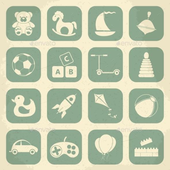 Retro Children's Toys Icon Set - Decorative Symbols Decorative
