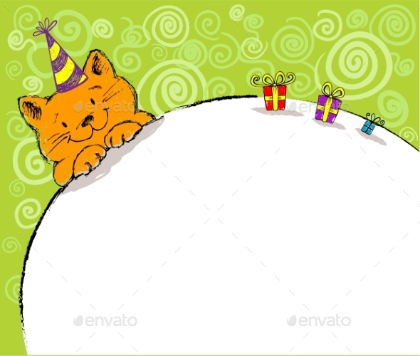 Greeting Card with Red Cat and Place for Text - Birthdays Seasons/Holidays