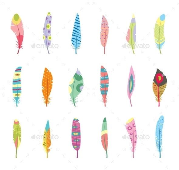 Vector Set of Stylized or Abstract Feathers - Flowers & Plants Nature