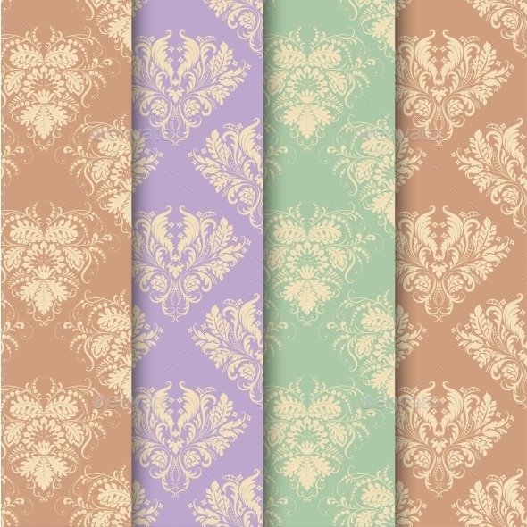 Set of Seamless Background in Vintage Style - Backgrounds Decorative