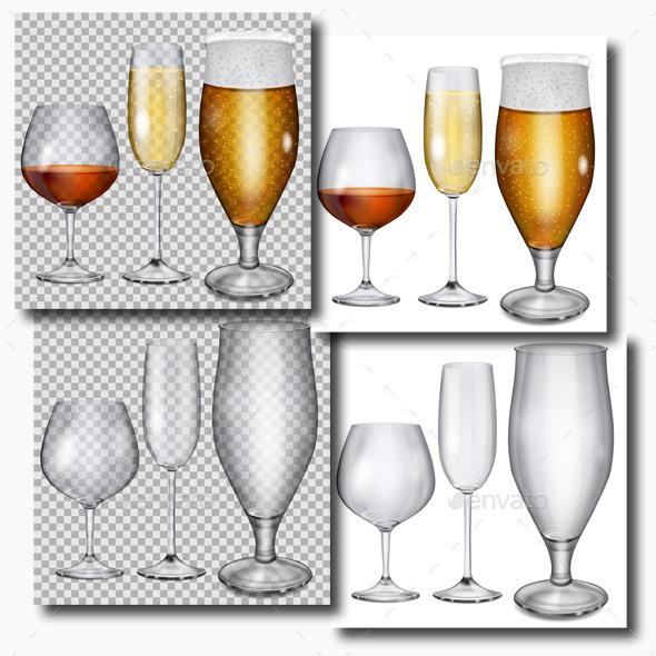 Transparent Glass Goblets - Miscellaneous Vectors