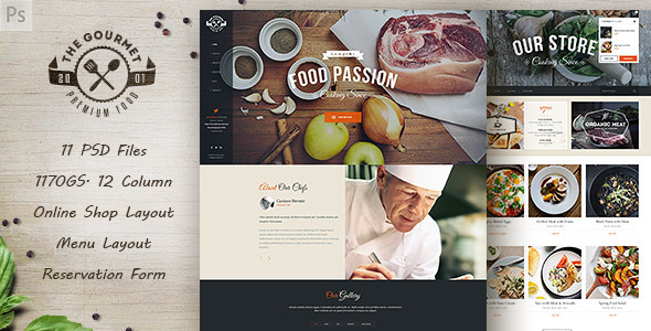 Gourmet – Food & Restaurant PSD Template