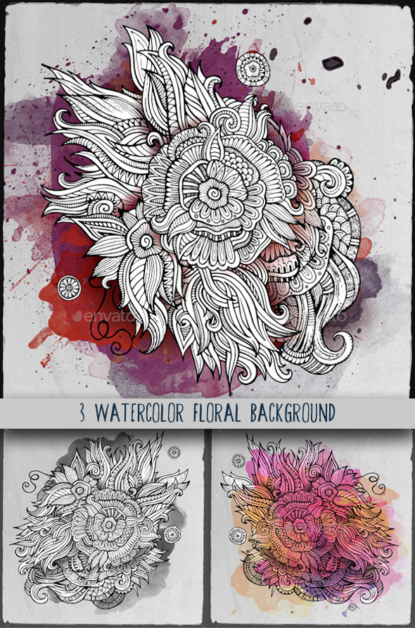 3 Watercolor Floral Background - Decorative Vectors