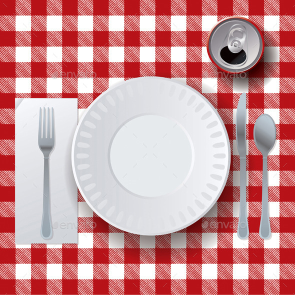 Vector Picnic Casual Dining Placesetting - Food Objects