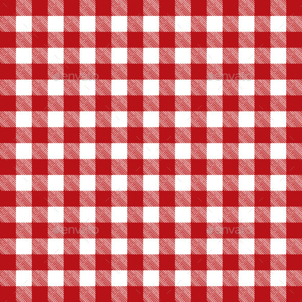Vector Red Checkered Pattern Tablecloth - Food Objects