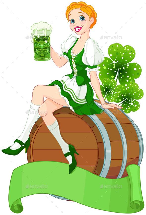 St. Patrick Day Girl on a Keg  - Seasons/Holidays Conceptual