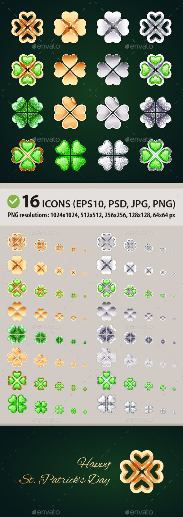 Vector Golden and Silver Four-leaf Clovers - Miscellaneous Icons