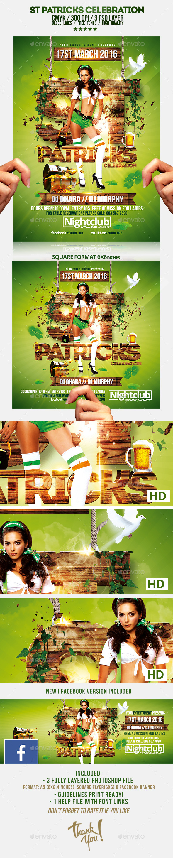 St Patricks Day Celebration Flyer Template - Clubs & Parties Events