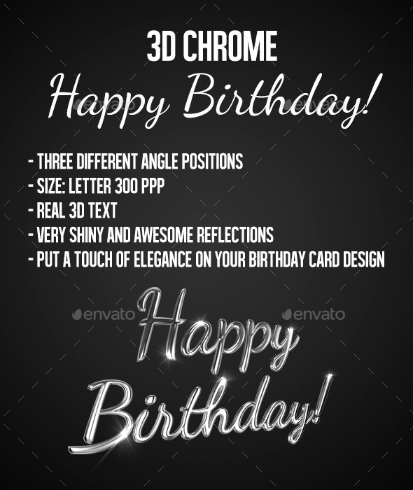 3D Chrome Text - Happy Birthday - Text 3D Renders
