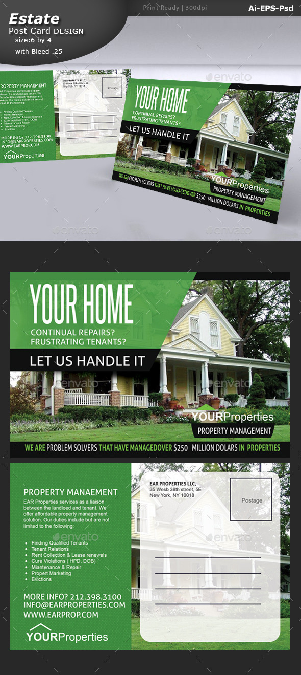 Property Post Card Design  - Brochures Print Templates