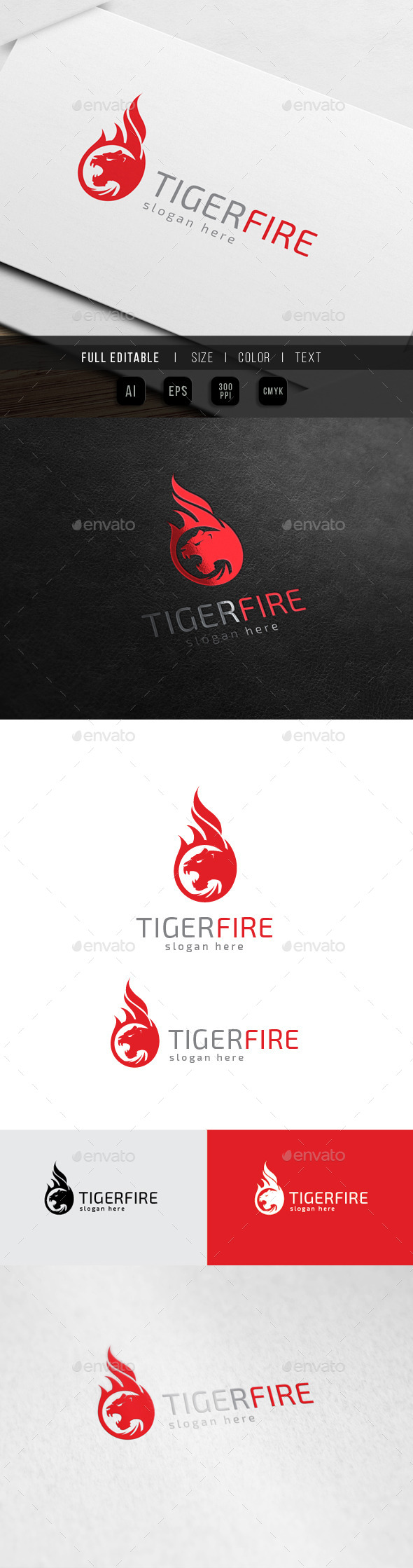 Tiger Fire - Panther Flame - Animals Logo Templates