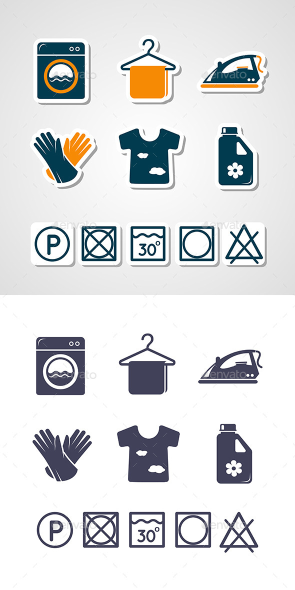 Laundry Icons Set - Services Commercial / Shopping