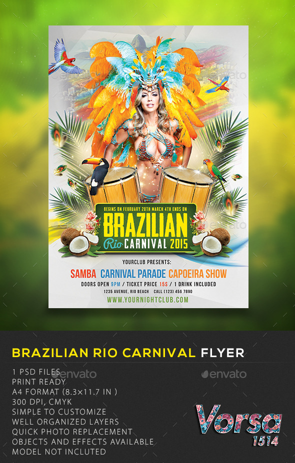 Brazilian Rio Carnival Flyer  - Clubs & Parties Events