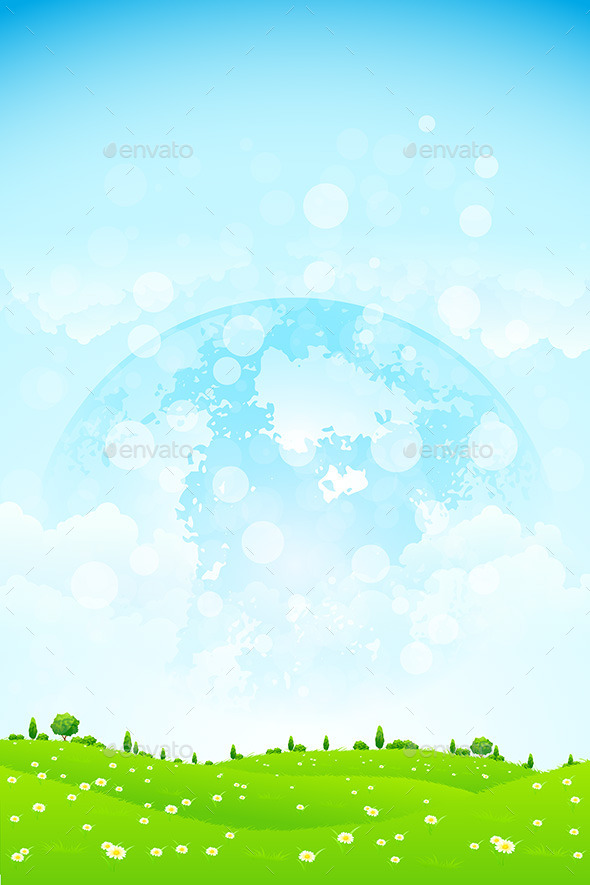 Green Background with Planet in the Sky - Landscapes Nature