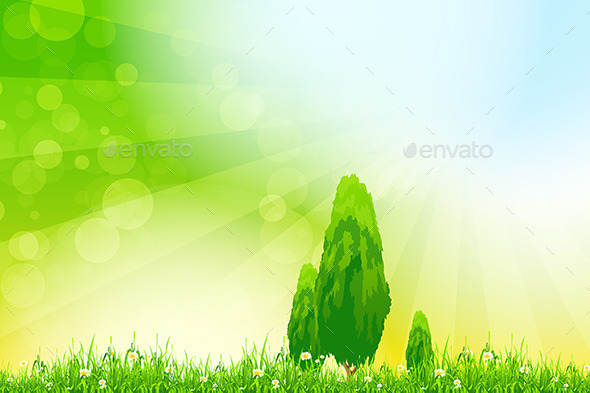 Fresh Green Grass with Yellow Bokeh and Trees - Landscapes Nature