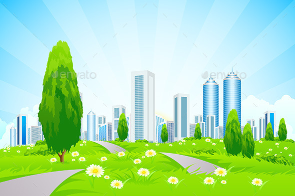 Green Landscape with City - Landscapes Nature