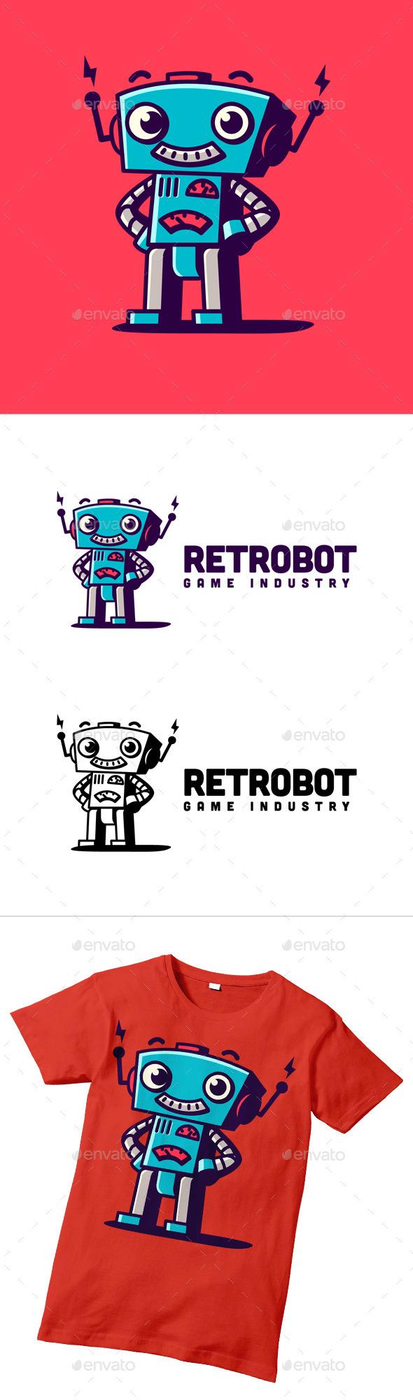 Retro Robot Character Logo - Objects Logo Templates