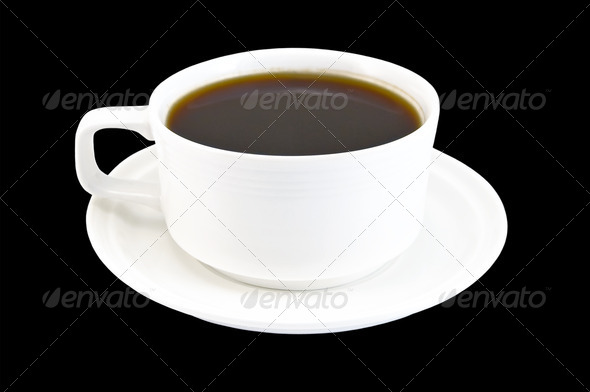 Coffee cup in white on a black background - Stock Photo - Images