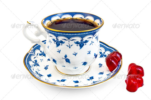 Coffee in the blue cup with jelly - Stock Photo - Images