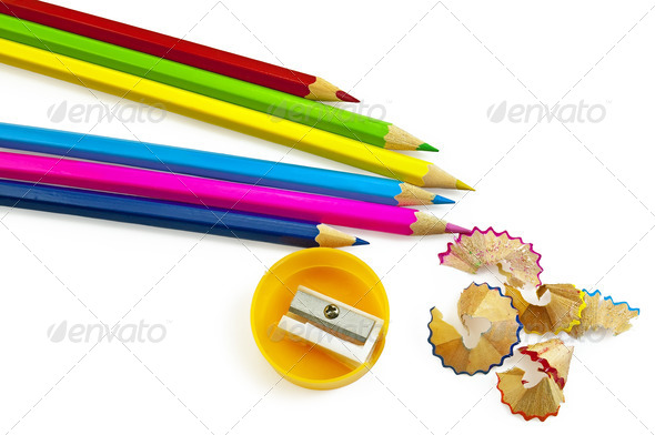 Colored pencils with sharpener - Stock Photo - Images