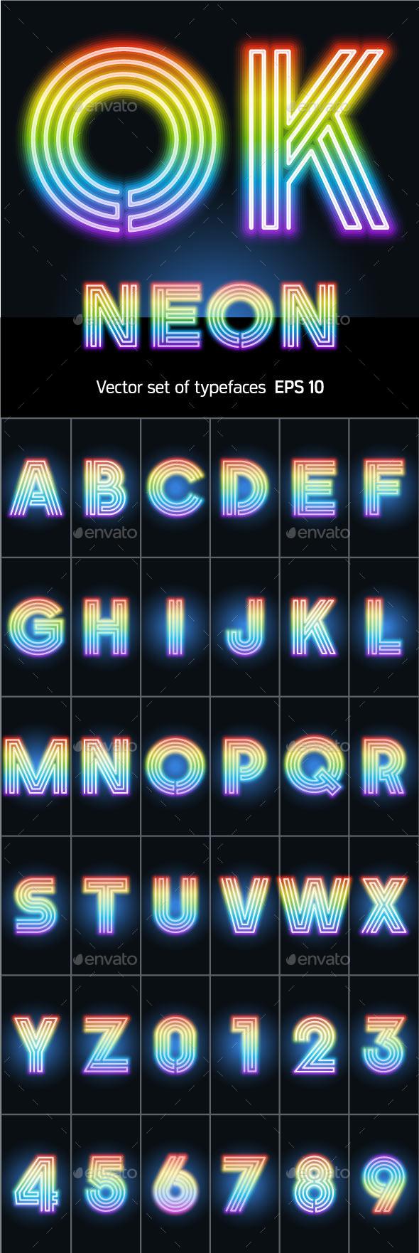 Alphabet of Neon Tubes - Decorative Symbols Decorative