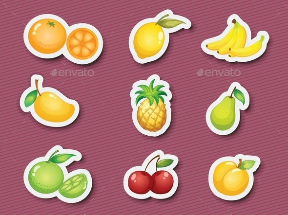 Sticker Series of Fruits - Food Objects