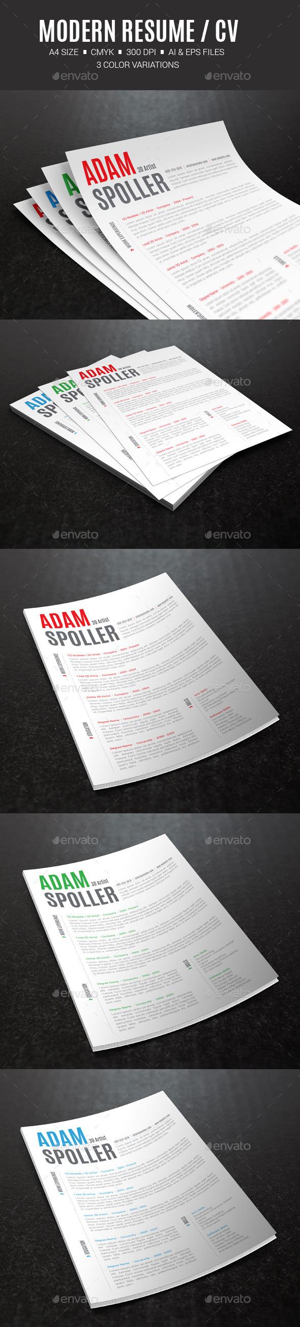 Modern Resume / CV - Resumes Stationery