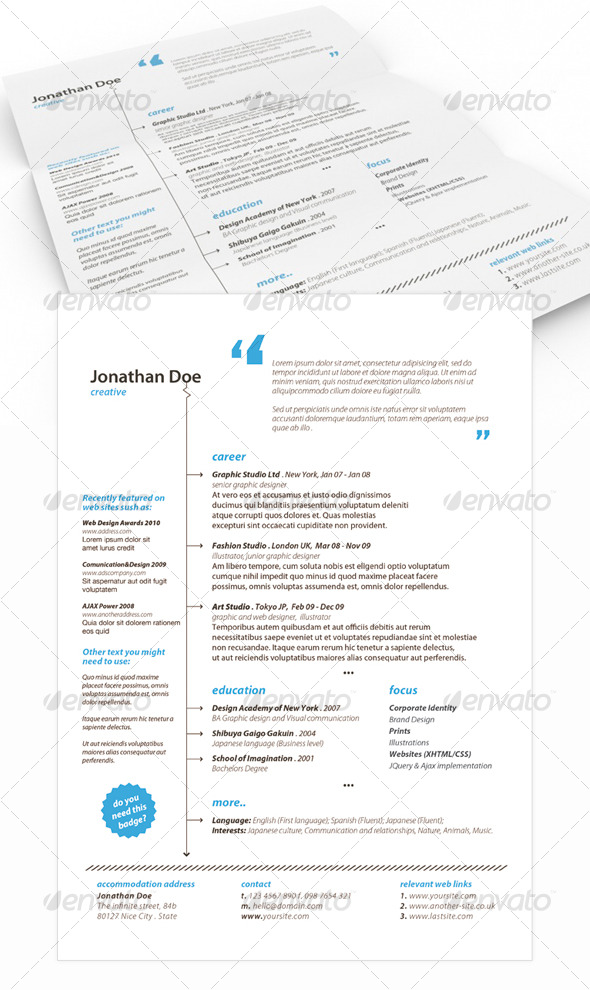 Get Minimal - Resume 02 - Resumes Stationery