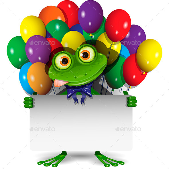 Frog and Balloons - Animals Characters