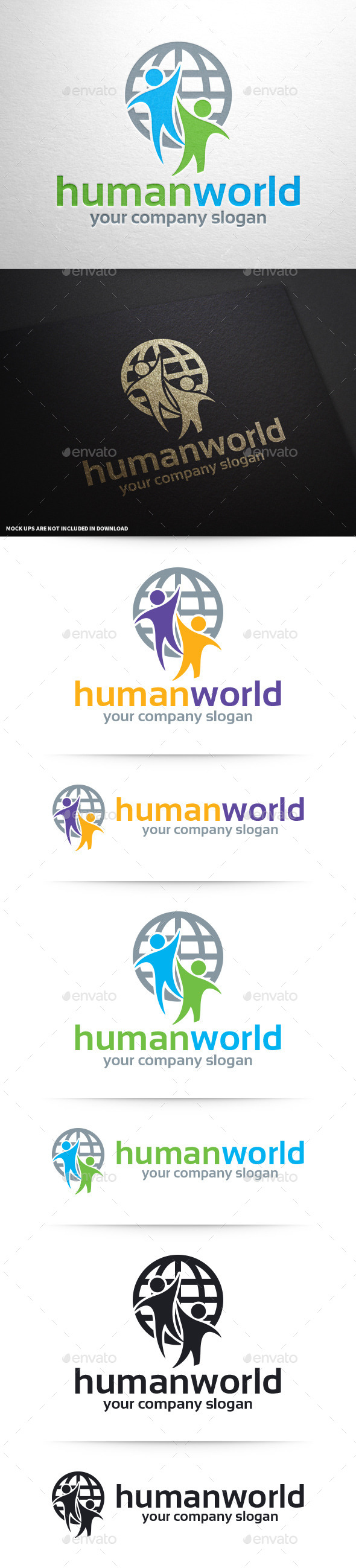 Human World Logo Template - Humans Logo Templates