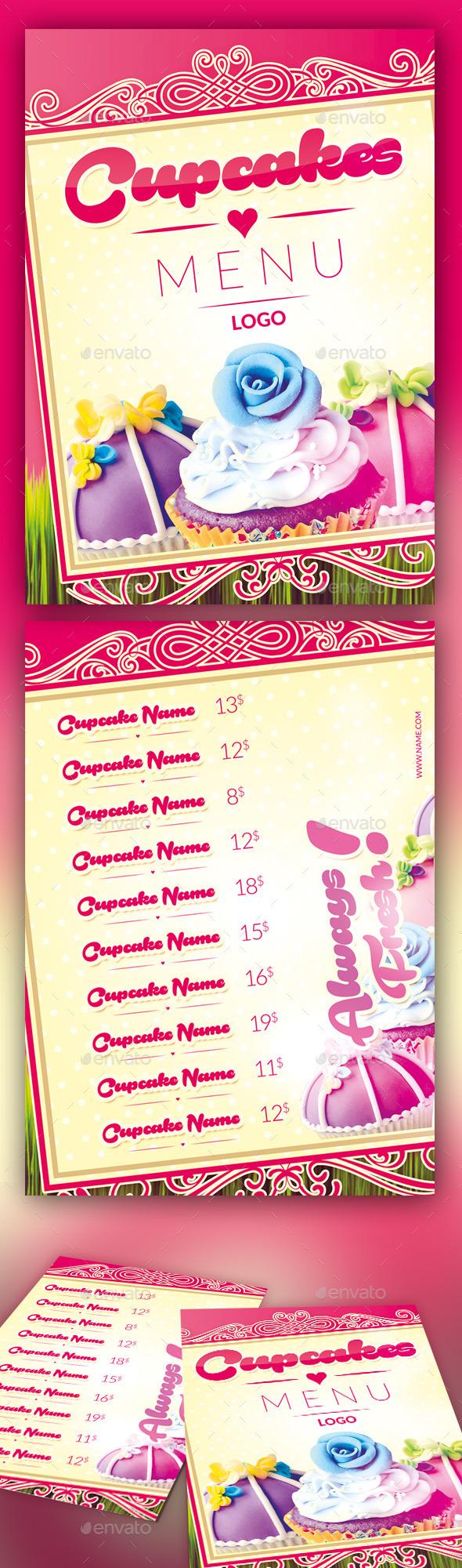 Cupcakes Menu - Food Menus Print Templates